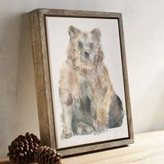 With a curious expression, our watercolor bear makes a charming friend for your gallery wall, hallway or guest room. He'll be right at home among other woodland-themed decor, but he can easily inhabit any stylish space.