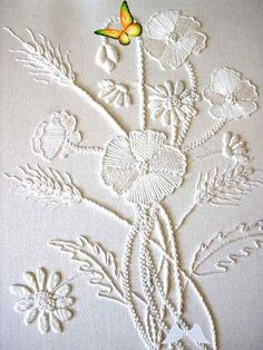 """An entry from le petit trianon stitchingsanity:  Mountmellick Poppies - white on white - beautiful!  Visit pattrott.co.uk<br> stitchingsanity: """" Mountmellick Poppies - white on white - beautiful! Visit pattrott.co.uk """" Silk Ribbon Embroidery, Crewel Embroidery, Hand Embroidery Patterns, Vintage Embroidery, Embroidery Thread, Machine Embroidery Designs, Geometric Embroidery, Embroidery Supplies, Custom Embroidery"""