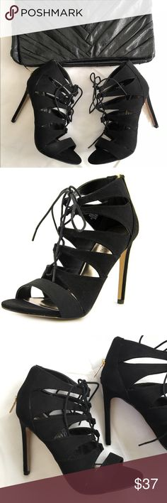 Madden Girl | Raceyy Black Dress Sandal •MADDEN GIRL Raceyy Black Dress Sandal. Gold zipper closure at the back of heel. 4 inch heel. Fabric material.  •Madden Girl - Steve Madden Collection •Like new condition! Worn once lightly  •Size 6.5  💌 Mailed out within 24 hours ✨ Open to offers! ✨ ADD TO BUNDLE for a special discount! ✖️ NO Trades Steve Madden Shoes Heels