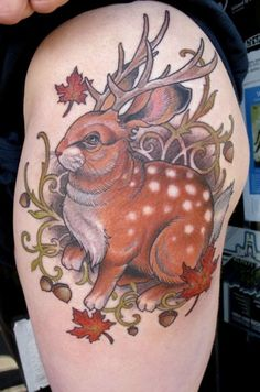"""""""Jackalope tattoo"""" - They're wild in California and throughout the world, but beware, they might not be as cuddly as they appear! ~:^)>"""
