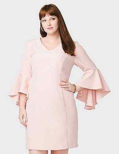 fabbf8ef0a40 roz ALI Plus Size Bell-Sleeve Scuba Sheath Dress