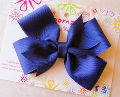 Girls 3 Inch Handmade Royal Blue Hair Bow by Bloomzies on Etsy, $3.00