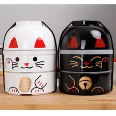 New-Fortune-Cats-Bento-Lunch-Container-Maneki-Neko-Large-bento-lunch-box Stainless Steel Lunch Box, Lunch Containers, Bento Box Lunch, Maneki Neko, Canning, Picnic, Boxes, Cats, School