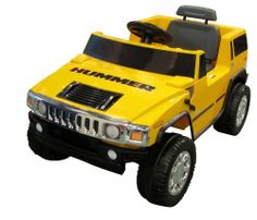 National Products 6V Yellow Hummer H2 Battery Operated Ride-on by Golden Wheel - Fun Creation Inc. dba National Products Ltd. (Drop Ship Ordering Code). $197.99. From the Manufacturer                This officially licensed Yellow Hummer H2 6V battery operated ride on is the coolest ride-on on the market. Features heavy duty sturdy off road styling. Forward and reverse gears. Max cruising speed of 2.5 mph. Working horn. Pretend seatbelts. Works up to one hour on a full charge. A...