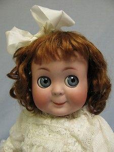Antique 1910 K * R 131 Googly Doll Blue glass sleep eyes, slant hip toddler - Dolly Dolls Old Dolls, Antique Dolls, Vintage Dolls, Vintage Items, Doll Toys, Baby Dolls, Dolly Doll, Kewpie, Bear Doll