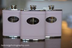 Bride & Bridesmaids pink flasks for destination wedding in Maui, Hawai'i.  Photo by www.TadCraigPhotography.com