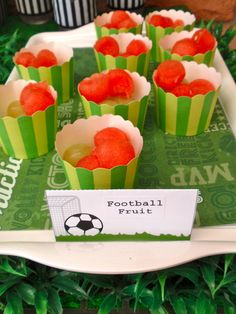 Great idea lining serving trays with soccer paper/fabric!: Soccer - green, black & white / Birthday Harris Soccer 2nd Birthday | Catch My Party