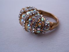 Vintage Ring Aurora Borealis Goldtone by TheJewelryChain on Etsy, $16.00