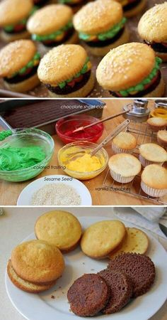 Hamburger cupcakes Definitely making these! Cupcake Recipes, Cupcake Cakes, Dessert Recipes, Fondant Cakes Kids, Cupcake Ideas, Hamburger Cupcakes, Hamburger Party, Kreative Desserts, Delicious Desserts