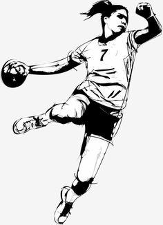 vector painted handball player, Hand-painted Handball Player, Handball Player, Handball PNG and Vector Women's Handball, Handball Players, Sports Drawings, Drawing Heads, Football Girls, Basketball Quotes, Sports Art, Goalkeeper, Art Logo