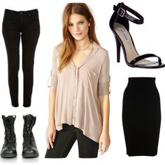 """Taupe and Black"" by alex-harris-1 on Polyvore"