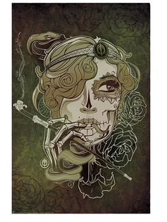 Pipe Smoking Dia De Los Muertos Tattoo Art Poster Print with Sensual Lowrider Elements. Eve art by Tonymash.