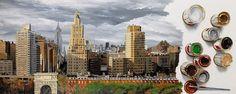 """""""NEW YORK 21"""" By Socrates Rizquez 2015 - Enamels on melamine painting. Pintado con esmaltes sobre melamina."""