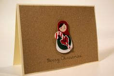 Items similar to Unique handmade Christmas card/ Russian Doll, Matryoshka with candy cane and rhinestone, / paper cut/ Kraft paper on Etsy 3d Paper, Kraft Paper, Christmas Cards, Merry Christmas, Etsy Cards, Handmade Cards, Handmade Gifts, Handmade Christmas, Candy Cane