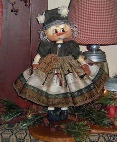 free patterns for andy and annie dolls | Primitive Raggedy Ann Snowman Annie Doll Pattern 531 | eBay