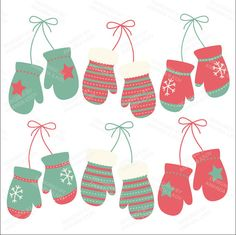 Professional Modern Christmas Mittens Clipart by AmandaIlkov