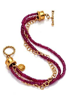 Ruby and 22k Gold Bracelet by LContessaCollection on Etsy, $1400.00