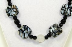Black necklace. White necklace Chunky jewelry by VsBeadDesigns