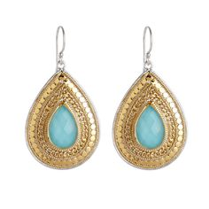 Anna Beck: Gili: Wire Rimmed Turquoise Large Drop Earrings - Gold