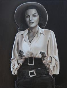 Two Gun Lady, 40 x 30, oil on linen    This is another in my Silver Screen Cowgirl series. This Cowgirl is ready to take down the Bad Guys while still looking beautiful.    http://khendersonart2.blogspot.com/