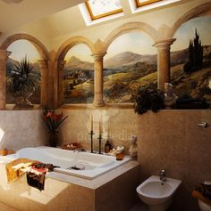 Bathroom with Trompe L'Oeil Mural