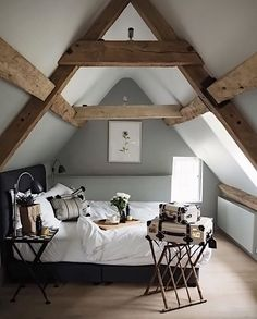 """5,953 Likes, 33 Comments - Scandinavian Homewares (@istome_store) on Instagram: """"What a stunning attic bedroom via @siobhaise Love those beams! . #bedroom #bedroomdecor…"""""""