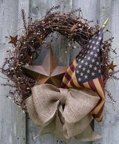 Americana Rustic Star Old Glory Patriotic Wreath with Tea Stained Flag. Abundant branches of pip berries in burgundy, navy and cream mingle with Patriotic Wreath, Patriotic Crafts, Patriotic Decorations, July Crafts, 4th Of July Wreath, Holiday Crafts, Holiday Decor, Flag Wreath, Camo Wreath