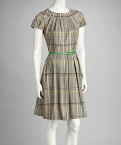 Take a look at this Green & Brown Plaid Belted Cap-Sleeve Dress by Amelia New York on #zulily today!