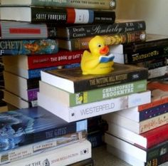 a rubber ducky and a TBR pile. awesome.