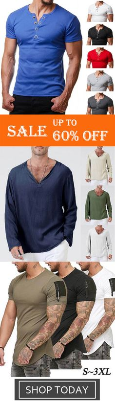 Mens Casual Short Sleeve Metal Button Solid Color T-Shirts,Men's V-Neck Solid Co. Mens Casual Short Sleeve Metal Button Solid Color T-Shirts,Men's V-Neck Solid Color Linen Cotton Long Sleeve T-shirts,Me. Tall Men Fashion, Mens Fashion, Fashion Outfits, Top Clothing Brands, Mens Clothing Styles, Shirts With Holes, Casual Wear For Men, Mein Style, Casual T Shirts