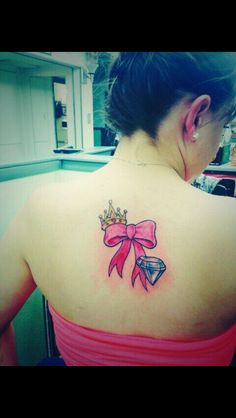 Pink bow crown and diamond tattoo I love it