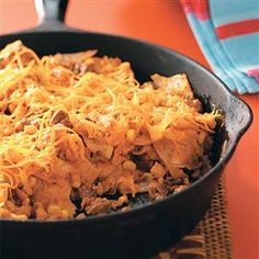 Easy Beef Taco Skillet Recipe -Busy day? Save time and money with this stovetop supper the whole family will love. It calls for handy convenience products, so it can be on the table in minutes. —Kelly Roder, Fairfax, Virginia