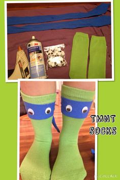 Son wanted some for crazy sock day at school. No choices for boys, so we made our own. Green socks Old blue shirt Squiggly eyes Fabric spray glue Hot glue for eyes I only glued front of socks. Headband ties in back. Wacky Socks, Silly Socks, Crazy Socks, Cool Socks, Crazy Hat Day, Crazy School Day, Spirit Day Ideas, School Spirit Days, School Days