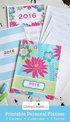 Get your life organized! A Printable Personal Planner with 2016 Calendar and 7 life organizational sheets. Printable Weekly Cleaning Schedule with cleaning tips, blog calendar, Grocery List, To-do lists and more!