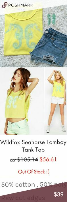 {Wildfox} seahorse tank Wildfox * Seahorse Tomboy Tank * Size Large (oversized fit, hits at hip, muscle style wide arm holes) * Yellow with Sea Green & White Seahorse Graphic * Raw Hem  * 50% Cotton / 50% Polyester * NWOT / FLAWLESS - ORDERED THE WRONG SIZE * Perfect to throw over a bikini or bandeau for summer:)  * Shirt * Top * Tee * Graphic * Lightweight * Bright * Wildfox Tops Tank Tops