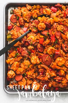 Easy chicken, sausage, and shrimp Sheet Pan Jambalaya is a tasty one pan recipe that combines everything you love about this delicious Cajun classic at home Cajun Recipes, Cooking Recipes, Healthy Recipes, Haitian Recipes, Louisiana Recipes, Paleo Food, Donut Recipes, Shrimp Recipes, Pork Recipes