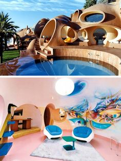 Unique Bubble Palace by Antti Lovag. Using the shape of bubbles as its design motif, this villa in the Massif de l'Esterel simply looks gorgeous. It also spans almost square feet.
