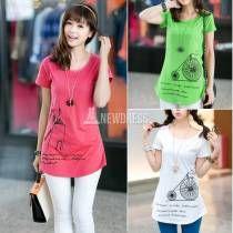 Windmill Print Womens Lady Short Sleeve Casual Cotton T shirt Top Tank Blouse