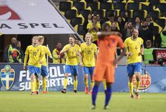 Marcus Berg of Sweden celebrates after scoring to opening goal to 1-0during the FIFA World Cup Qualifier between Sweden and Netherlands at Friends arena on September 6, 2016 in Solna, Sweden.