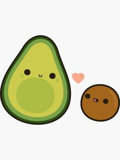 'Cute avocado and stone' Sticker by peppermintpopuk - Modern Avocado Cartoon, Avocado Art, Cute Avocado, Cute Animal Drawings, Cute Drawings, Dibujos Cute, Cute Clipart, Small Canvas, Posca