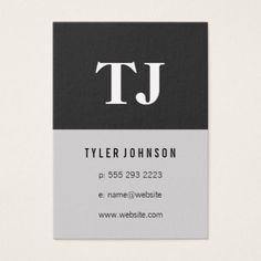 #initial - #Script Monogram / Two Tone Pattern Business Card