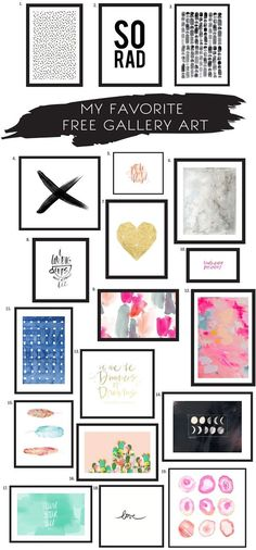 The best roundup of FREE gallery wall art!! If you are looking to at gallery wall ideas and gallery wall prints you need to check out this post!