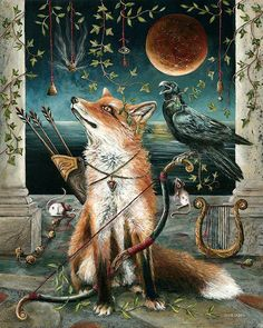 "pagewoman: ""  The Archer Fox and The Raven by Janie Olsen "" Crows Ravens, Animal Totems, Red Fox, Artemis Art, Drip Drip, Blackbirds, Fantastic Mr Fox, Raven Art, Raven Tattoo"