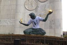 "Today (12/21/15) marks the first time the 26-foot ""Spirit of Detroit"" statue has worn an MSU Spartans jersey."