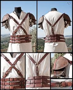 Leather Harness + Shoulder Armor by *Adhras on deviantART http://artisansdazure.deviantart.com/art/Leather-Harness-Shoulder-Armor-263701825