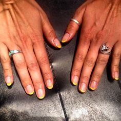 Gel Polish; Yellow Tips.