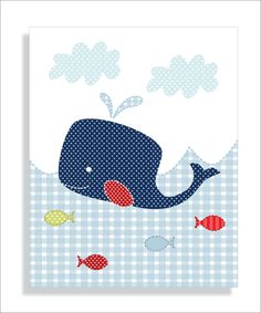 Whale Lighthouse and Sailboat Childrens Art by FieldandFlower, $26.00