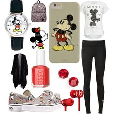 Mickey by fashiongirlxcx on Polyvore featuring polyvore fashion style Neff adidas Vans Disney Anne Klein Beats by Dr. Dre Essie disney mickey