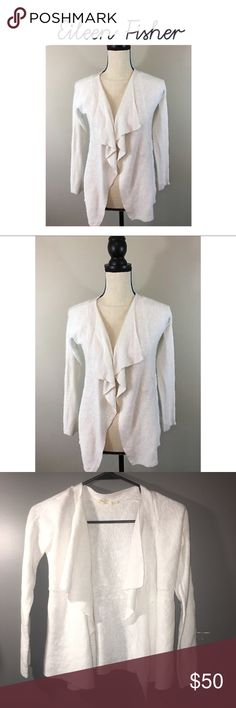 Eileen Fisher Open Waterfall Cardigan Sweater Cream open front sweater size petite small. Great condition. Gently worn with no flaws or holes. Eileen Fisher Sweaters Cardigans