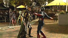Behind the scenes of Captain America vs. Loki... *gif* Tom looks so big compared to Chris Evans